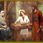 Jesus learning carpentry collage