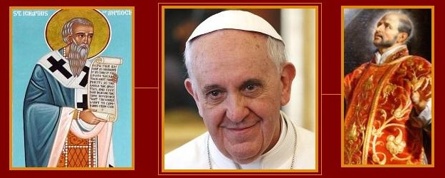 Pope Francis and two Ignatius saints collage
