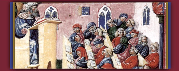 14th-century image on parchment of a university lecture by Laurentius de Voltolina of Bologna.