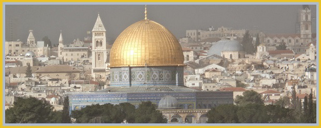 The city of Jerusalem with the Dome of the Rock in the foreground.