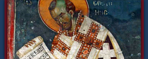 Detail, fresco of St. John Chrysostum, artist unknown (13th  Century), Church of the Theotokos Peribleptos, Ohrid, Macedonia.