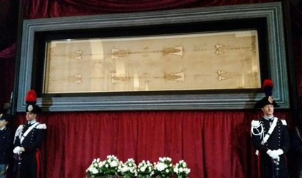 Shroud of Turin on display