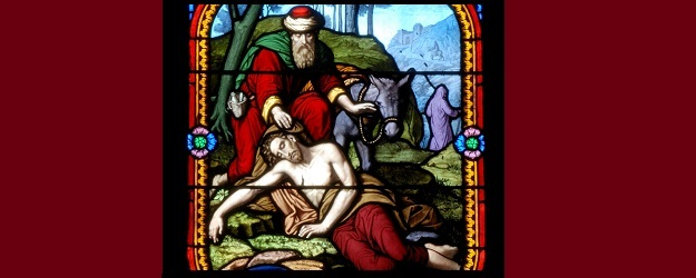 The Good Samaritan (stained glass art) for article on Mercy