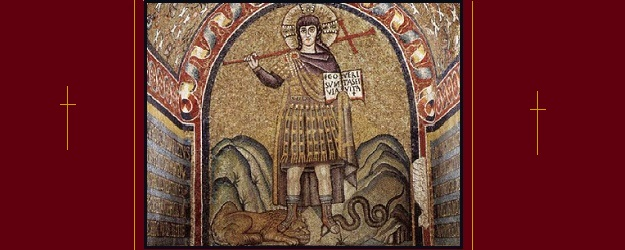 Mosaic in Archiepiscopal Chapel (Ravenna) representing Christ as a warrior