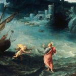 Painting of St. Peter walking to Jesus on the stormy sea.