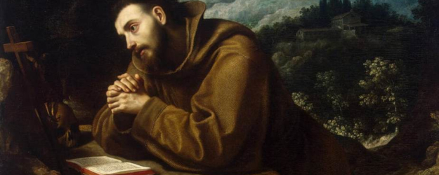 Painting: St. Franics of Assisi adores the Cross and studies Scripture. By Cigoli.
