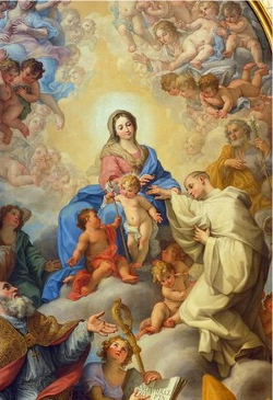 Painting by Giovanni Odazzi: Mystic Marriage of St. Robert to Our Lady