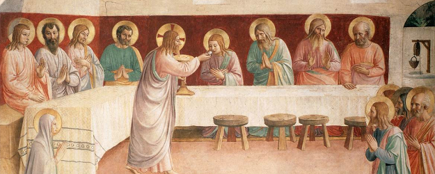 Painting showing Jesus giving the Apostles the Eucharist at its institution at the Last Supper, by Fra Angelico.