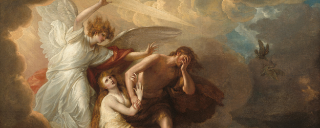 Painting of Adam and Eve expelled from Paradise by an angel.
